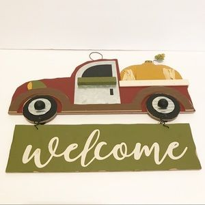 "NWT Farmhouse/rustic red truck w/ ""welcome"" sign"